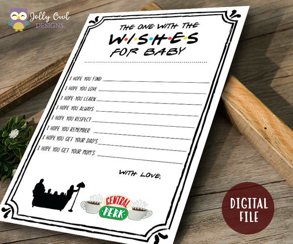 Friends TV Show Baby Shower Game - Wishes for Baby