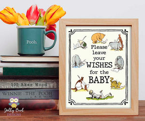 Winnie The Pooh Baby Shower Signs - Wishes For The Baby Sign