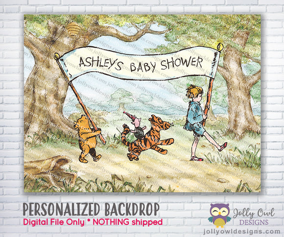Classic Winnie The Pooh Baby Shower Backdrop