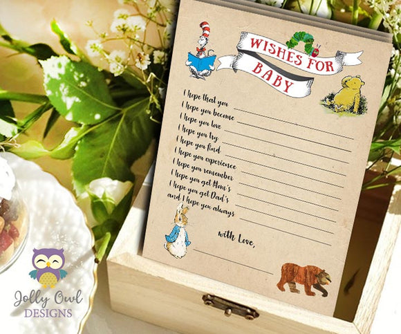 Book Themed Baby Shower Game Card Wishes for the Baby