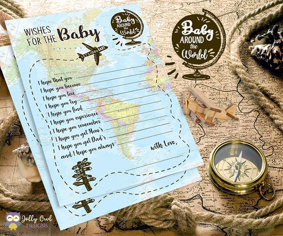 Baby Around The World Baby Shower Game Card - Wishes for the Baby
