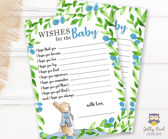 Peter Rabbit Themed Baby Shower Game Card Wishes for the Baby