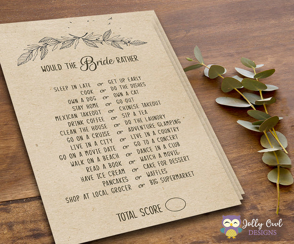 Rustic Themed Bridal Shower Game - The Bride Rather, Would She Rather - Jolly Owl Designs