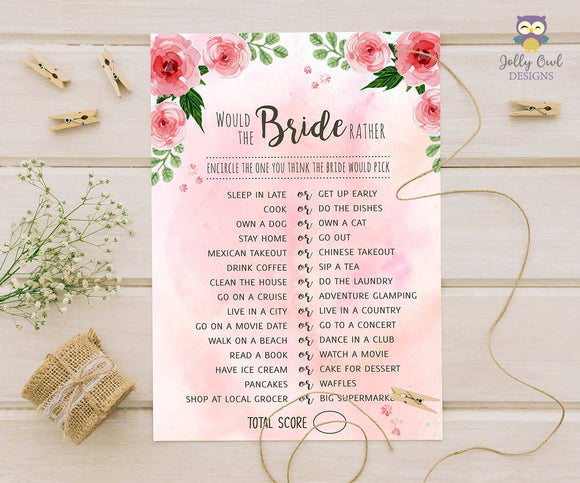 Floral Watercolor Themed Bridal Shower Game - The Bride Rather, Would She Rather