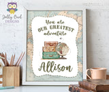 Personalized Printable Sign for Vintage Travel Themed Baby Shower or Birthday
