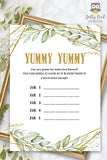 Gold Geometric Botanical Greenery Baby Shower Game - Guess the Yummy Baby Food in Jar