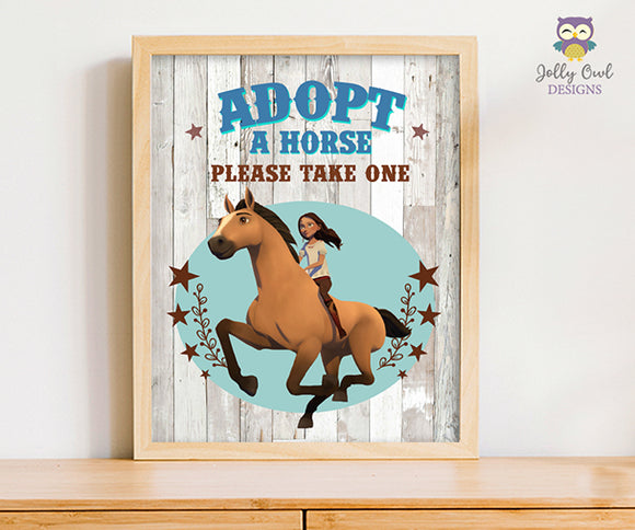 Spirit Riding Free Birthday Party Signs - Adopt A Horse