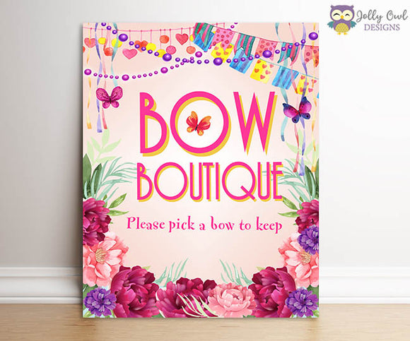 Fancy Nancy Birthday Party Signs - Bow Boutique Sign