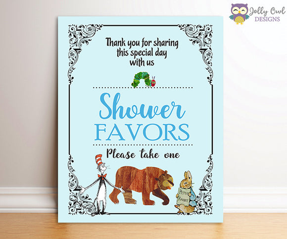 Book Themed Baby Shower Party Favor Sign