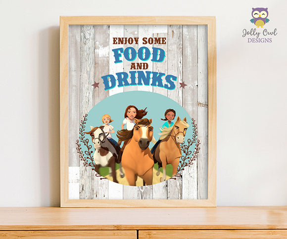 Spirit Riding Free Birthday Party Signs - Enjoy Some Food and Drinks