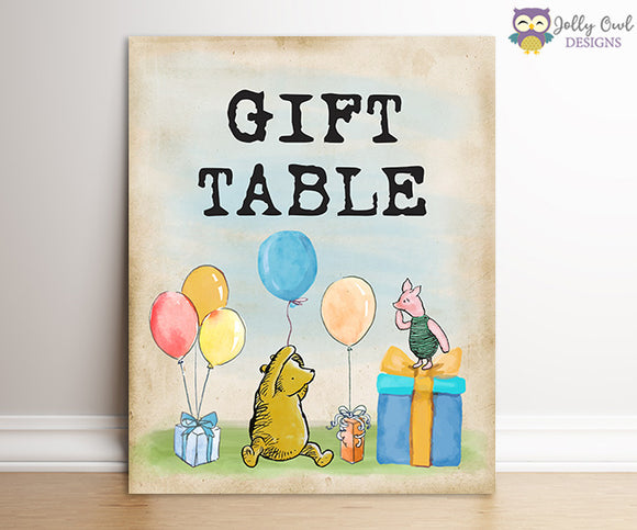 Winnie The Pooh Party Signs - Gift Table