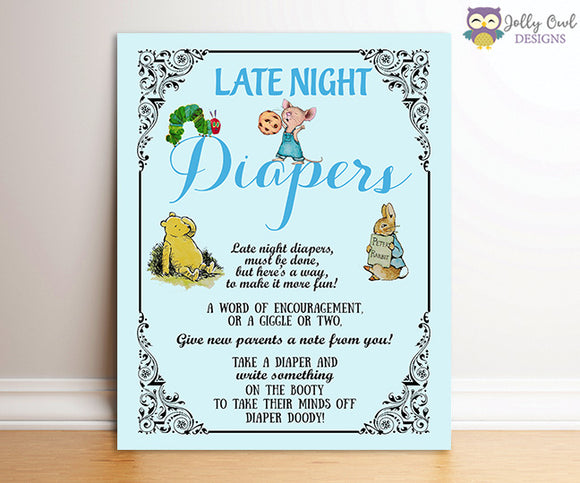 Book Themed Baby Shower - Late Night Diaper Sign