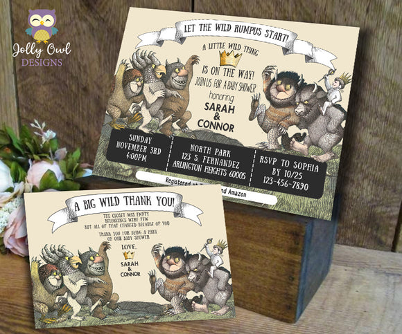 Where The Wild Things Are Baby Shower Invitation with Thank You Card