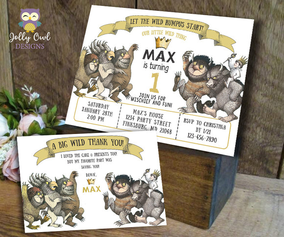 Where The Wild Things Are Birthday Party Invitation with Thank You Card