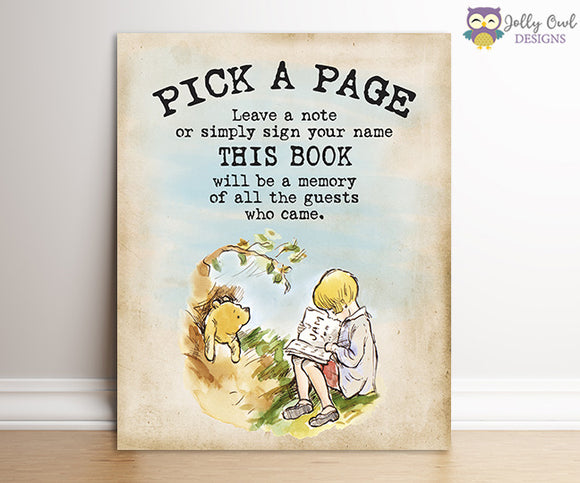 Winnie The Pooh Party Sign - Pick A Page