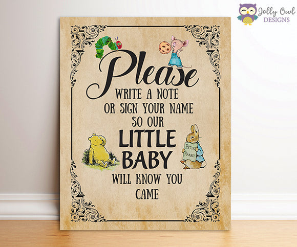 Book Themed Baby Shower Party Sign - Please Write A Note