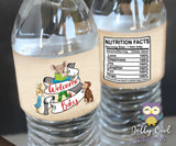 Water Bottle Label for Storybook Library Themed Baby Shower - Digital File