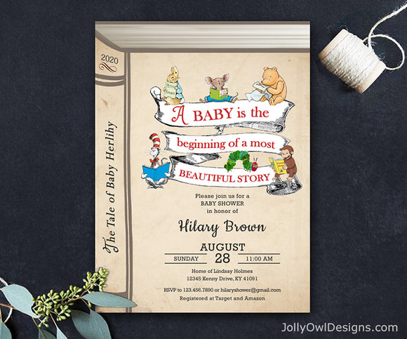 Book Themed or Storybook Baby Shower Invitation