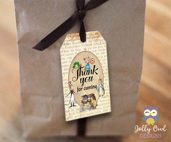 Book Themed Party Favor Tag