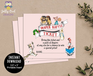 Diaper Raffle Ticket for Book Themed Baby Shower