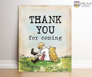 Winnie The Pooh Party Sign - Thank You For Coming