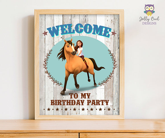 Spirit Riding Free Birthday Party Signs - Welcome To My Party