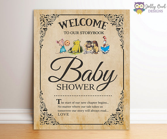 Book Themed Baby Shower Party Sign - Welcome Sign