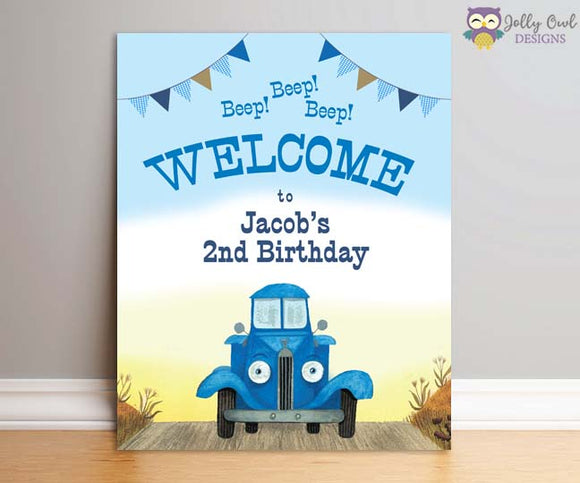 Little Blue Truck Birthday Party Signs - Personalized Welcome Sign