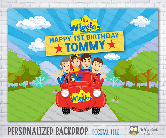 The Wiggles Show Birthday Party Backdrop - Big Red Car