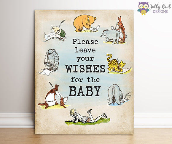 Winnie The Pooh Baby Shower Signs - Wishes For The Baby