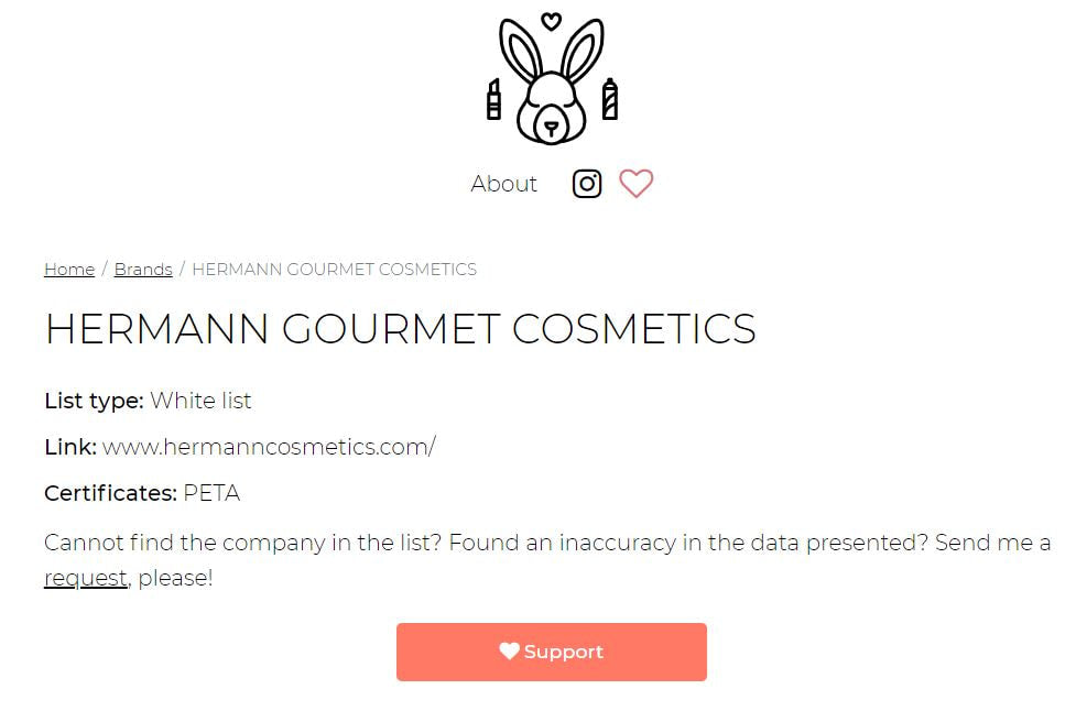 Hermann Gourmet Cosmetics PETA Certification
