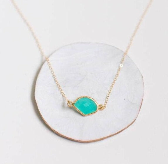 Aqua Pendant Gold Filled Necklace