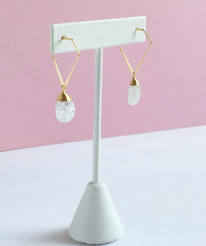 Cracked Glass Triangle Hoops Earrings