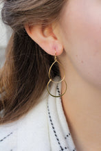 Load image into Gallery viewer, Gold Double Teardrop Earrings