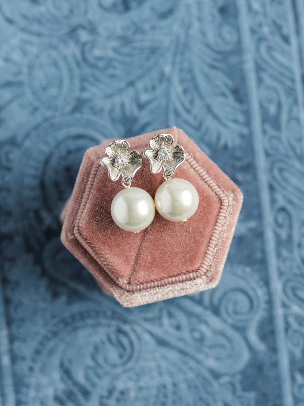 Classic Pearl Silver Floret Earrings