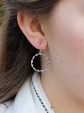 Load image into Gallery viewer, Silver Crystal Hoop Earrings