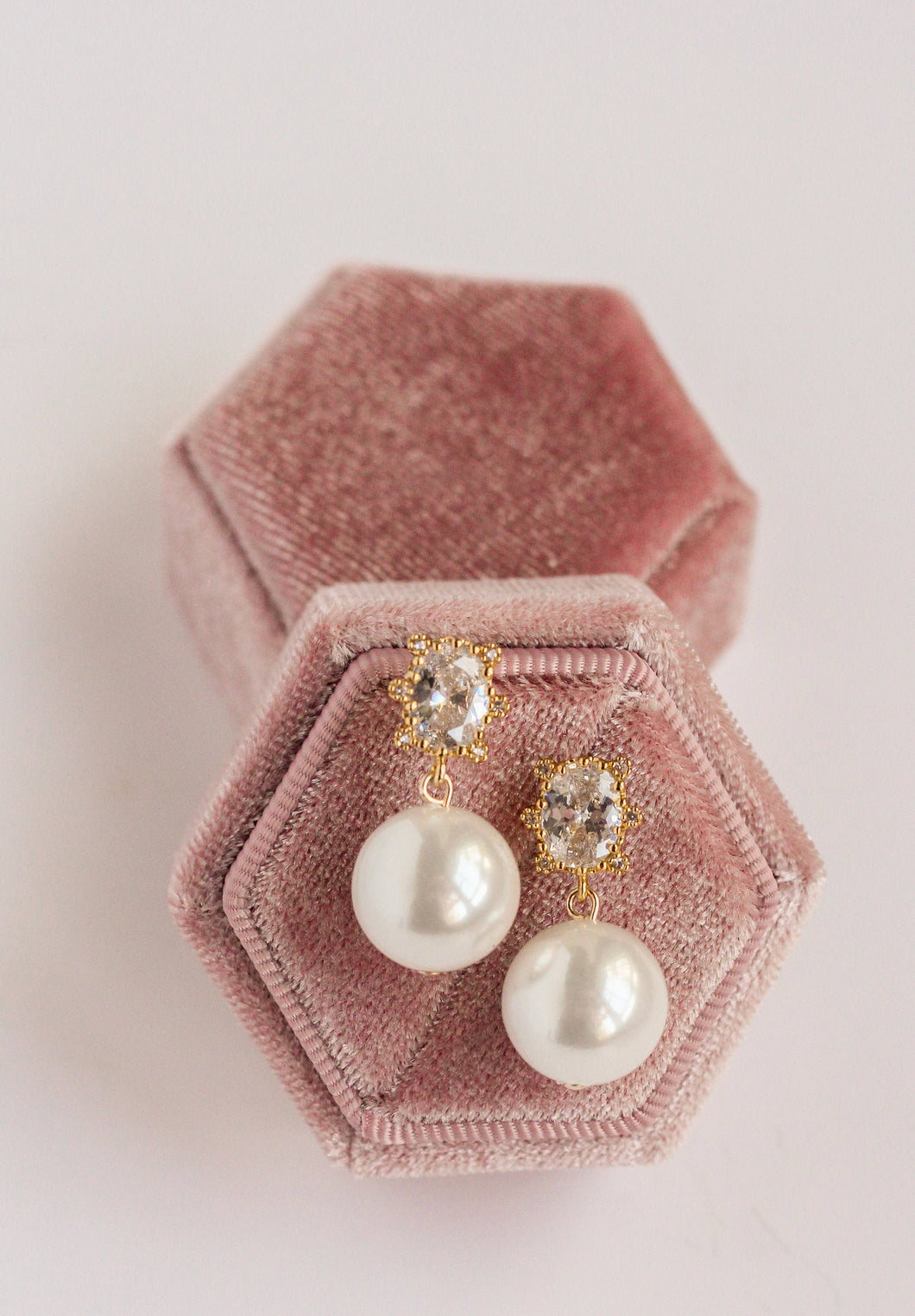 Oval Crystal Pearl Earrings