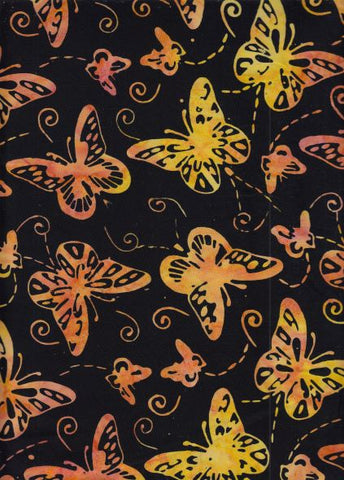 BAPASBRIGHT 835 Orange Black Butterfly Batik Fabrics Online