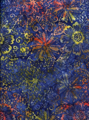 CAB 426 Royal Indigo Bright  Flowers and Leaves NEW