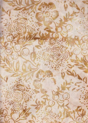 CACB 420 Buff Tobacco Flowers and Leaves. Anthology Batik