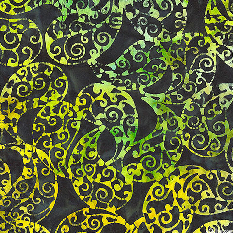 CAG 073 Pop Paisley Lime Black  Anthology Batiks