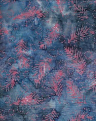 CAB 237 Denim Blue Gray Hot Pink Fronds
