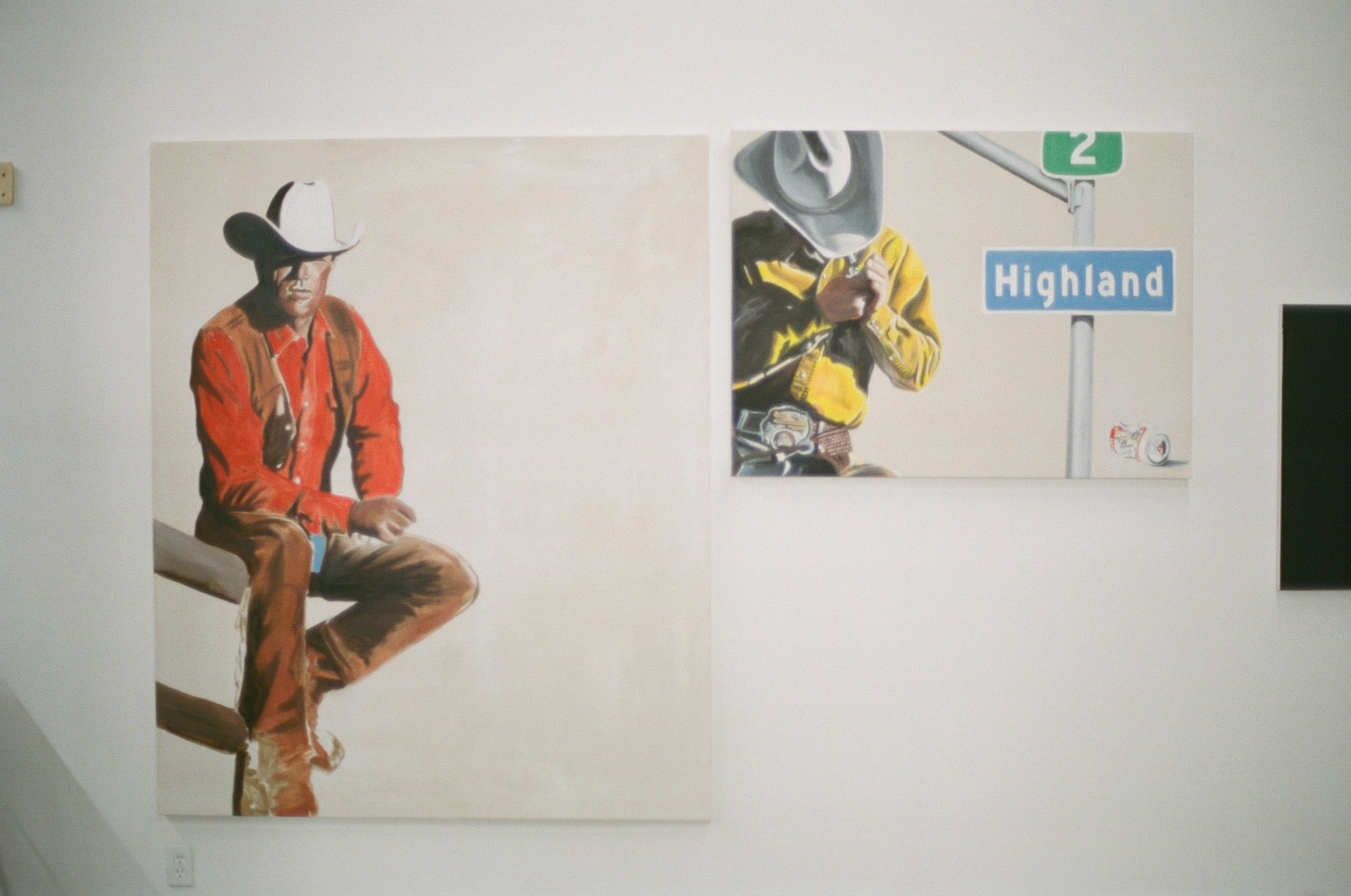 Two paintings of cowboys sitting pensively and smoking by Matt McCormick
