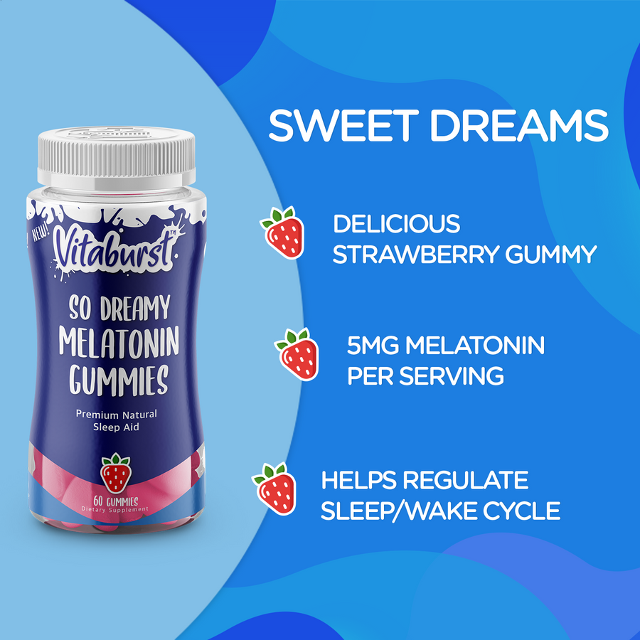 Vitaburst So Dreamy Melatonin Gummies - Natural Sleep Aid for a Calm Night's Sleep and Sweet Dreams - 60ct