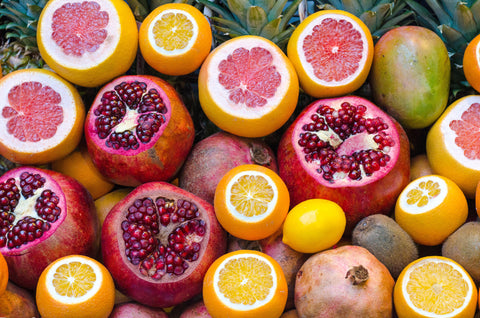 A collection of colorful fruit with lutein in them.