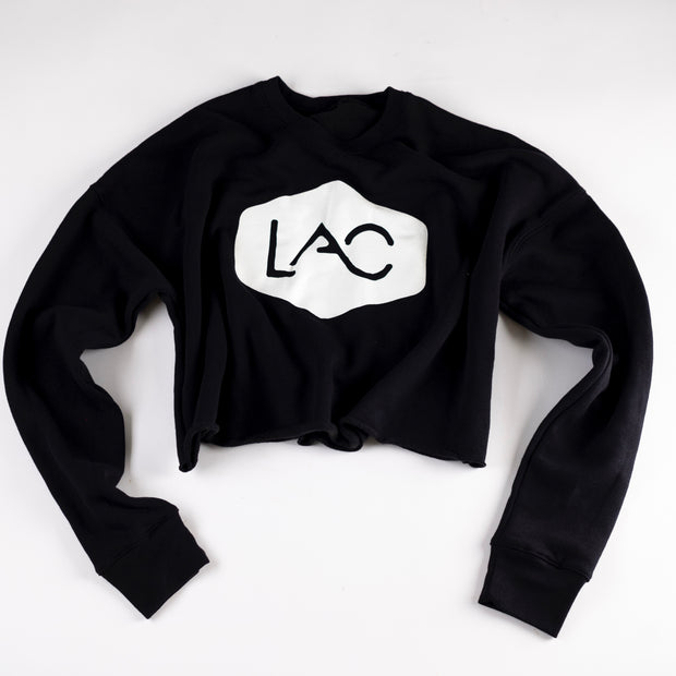 WOMEN'S LAC BADGE LOGO CROPPED CREW FLEECE