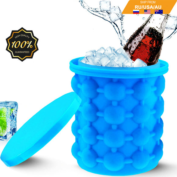 Dropshipping Portable 2 in 1 Large Silicone Ice Bucket Mold with Lid Space Saving Cube Maker Tools for Kitchen Party Barware