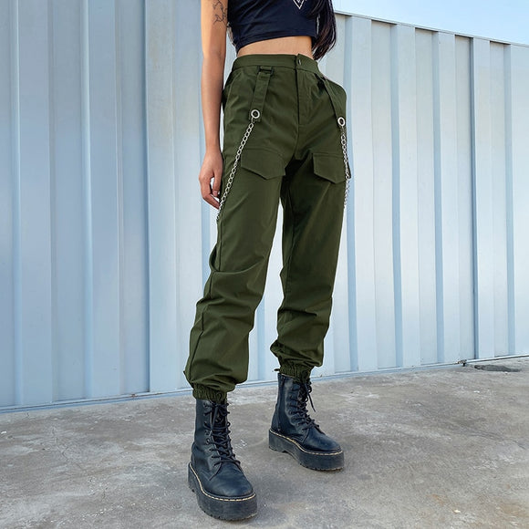 Green High Waist Cargo Pants