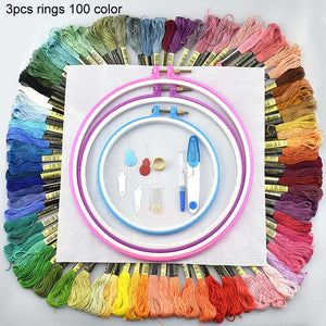 Embroidery Circles Set Embroidery Thread 50 100 Colors Sewing Tool Adjustable Skein Punch Needle Stitching