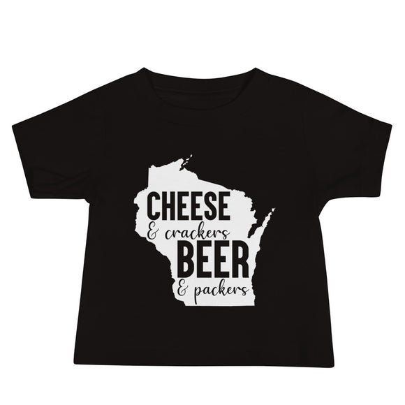 Baby T-shirt, Shower, Gift, Cheese and Crackers Beer and Packers, Wisco Pride, Wisconsin, Casual, Gift For Her, Workout, Popular
